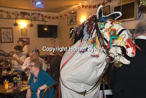 Mari Lwyd Llangynwyd near Bridgend Glamorgan bringing in the New Year December 31st 2012.