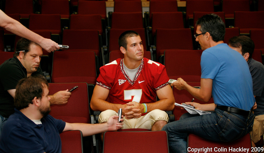 TALLAHASSEE, FL. 8/9/09-FSU-PONDER 0809 CH01-Florida State quarterback Christian Ponder takes questions during media day Sunday in Tallahassee...COLIN HACKLEY PHOTO