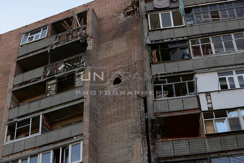 Houses damaged by shelling in Slovyansk, Ukraine.