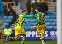 9th February 2020; The Den, London, England; English Championship Football, Millwall versus West Bromwich Albion; Filip Krovinovic of West Bromwich Albion celebrates with Callum Robinson of West Bromwich Albion after scoring his sides 1st goal in the 42nd minute to make it 0-1