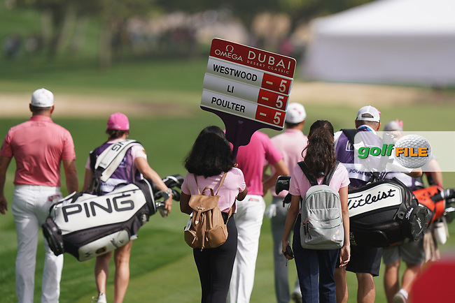Ian Poulter (ENG), Haotong Li (CHN), Lee Westwood (ENG) in action during the second round of the Omega Dubai Desert Classic, Emirates Golf Club, Dubai, UAE. 25/01/2019<br /> Picture: Golffile   Phil Inglis<br /> <br /> <br /> All photo usage must carry mandatory copyright credit (© Golffile   Phil Inglis)
