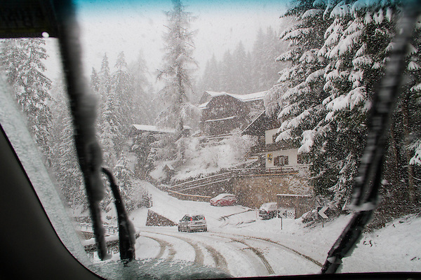 Italy, Dolomites.  Winter Driving.<br /> Being a skier from Colorado, this doesn't bother me. With six driving trips to Europe and 12 countries, I've driven in lots of conditions.  Pertinent stats: 135 nights and 13,000+ miles driven, no accidents. <br /> Snowstorm on drive from Canazei, Italy to St Anton, Austria.