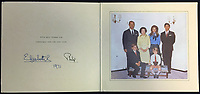 BNPS.co.uk (01202 558833)<br /> Pic: Rowleys/BNPS<br /> <br /> Pictured: 1971.<br /> <br /> <br /> A series of Christmas cards sent by the Royal Family to a married couple on their staff over a 25 year period have sold for £2,000.<br /> <br /> Most of the cards were sent by the Queen and Prince Philip and show the changing face of the monarchy from the black-and-white post war world to the colourful 1970s.<br /> <br /> They were sent to the couple who worked at Balmoral, the wife in the house and the husband on the estate.<br /> <br /> The cards were sold individually with the most expensive being the one for Christmas 1947 which was signed by King George VI and the Queen Mother.