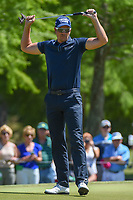 Henrik Stenson (SWE) reacts to barely missing his putt on 7 during Round 1 of the Zurich Classic of New Orl, TPC Louisiana, Avondale, Louisiana, USA. 4/26/2018.<br /> Picture: Golffile | Ken Murray<br /> <br /> <br /> All photo usage must carry mandatory copyright credit (&copy; Golffile | Ken Murray)