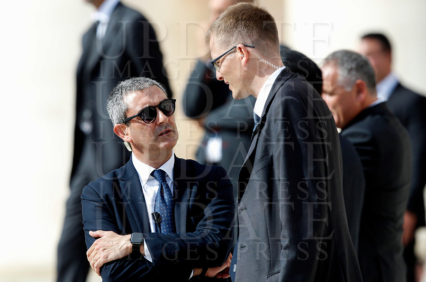 New Vatican head of security Gianluca Gauzzi Broccoletti, left, during the audience of Pope Francis in St. Peter's Square at the Vatican City, October 16, 2019.<br /> UPDATE IMAGES PRESS/Riccardo De Luca<br /> <br /> STRICTLY ONLY FOR EDITORIAL USE