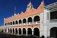 Oblique view of the Palacio Municipal (Town Hall), 16th century, Merida, Yucatan, Mexico, pictured on July 15, 2006, in the morning.  The Town Hall, opposite the Cathedral, is a colonnaded building with a clock-tower. In 1821 news of Yucatan's independence was called out here by the town-crier. Merida is the state capital of Yucatan. Picture by Manuel Cohen.