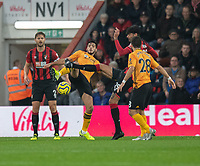 Bournemouth's Philip Billing battles for possession with Wolverhampton Wanderers' Matt Doherty<br /> <br /> Photographer David Horton/CameraSport<br /> <br /> The Premier League - Bournemouth v Wolverhampton Wanderers - Saturday 23rd November 2019 - Vitality Stadium - Bournemouth<br /> <br /> World Copyright © 2019 CameraSport. All rights reserved. 43 Linden Ave. Countesthorpe. Leicester. England. LE8 5PG - Tel: +44 (0) 116 277 4147 - admin@camerasport.com - www.camerasport.com