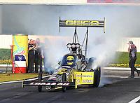 Feb 6, 2015; Pomona, CA, USA; NHRA top fuel driver Richie Crampton during qualifying for the Winternationals at Auto Club Raceway at Pomona. Mandatory Credit: Mark J. Rebilas-