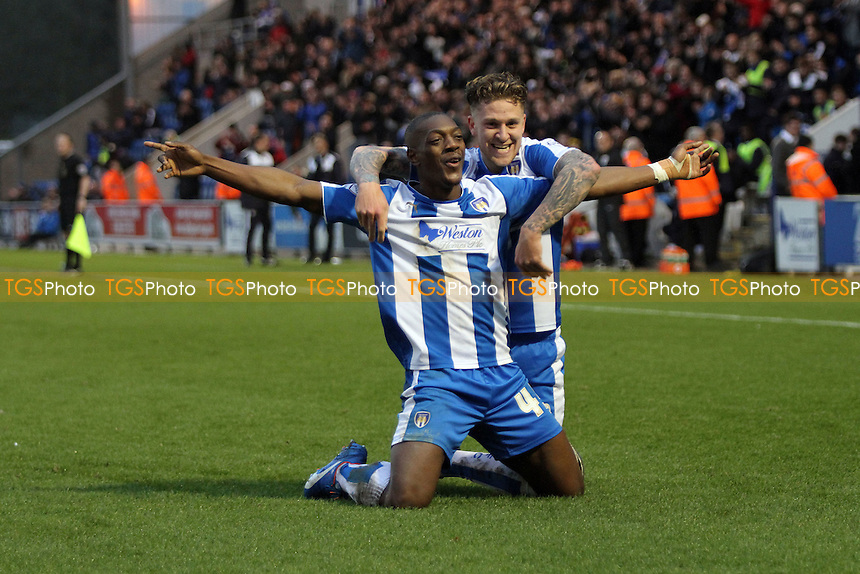 Marvin Sordell of Colchester United gets the second goal and celebrates with George Moncur of Colchester United during Colchester United vs Charlton Athletic, Emirates FA Cup Football at the Weston Homes Community Stadium, Colchester, England on 09/01/2016