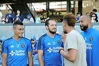 San Jose, CA - Saturday July 29, 2017: Darwin Ceren, Marco Ureña, Victor Bernardez prior to a Major League Soccer (MLS) match between the San Jose Earthquakes and Colorado Rapids at Avaya Stadium.