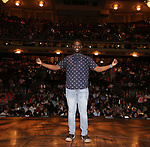 "Carvens Lissaint during the Q & A before The Rockefeller Foundation and The Gilder Lehrman Institute of American History sponsored High School student #eduHAM matinee performance of ""Hamilton"" at the Richard Rodgers Theatre on June 5, 2019 in New York City."