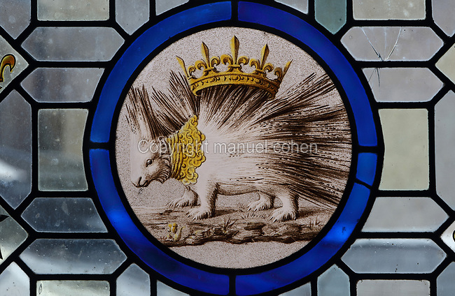 Mullioned stained glass window, 15th century, with additional panel made 1861-66 by Felix Duban featuring a porcupine, symbol of Louis XII, in the Salle des Etats Generaux, or Estates General Room, built in 1214 in Gothic style under Thibaut VI, Count of Blois-Champagne, in the Chateau Royal de Blois, built 13th - 17th century in Blois in the Loire Valley, Loir-et-Cher, Centre, France. The large hall is covered by a wooden frame forming 2 naves, supported by 6 arches on 5 columns. In 1861-66 Felix Duban restored the room in Neo-Gothic style, painting the vaulted ceiling with a fleur de lys design. The hall is named after the 2 Estates General of Blois in 1576 and 1588, called by Henri III. The chateau has 564 rooms and 75 staircases and is listed as a historic monument and UNESCO World Heritage Site. Picture by Manuel Cohen