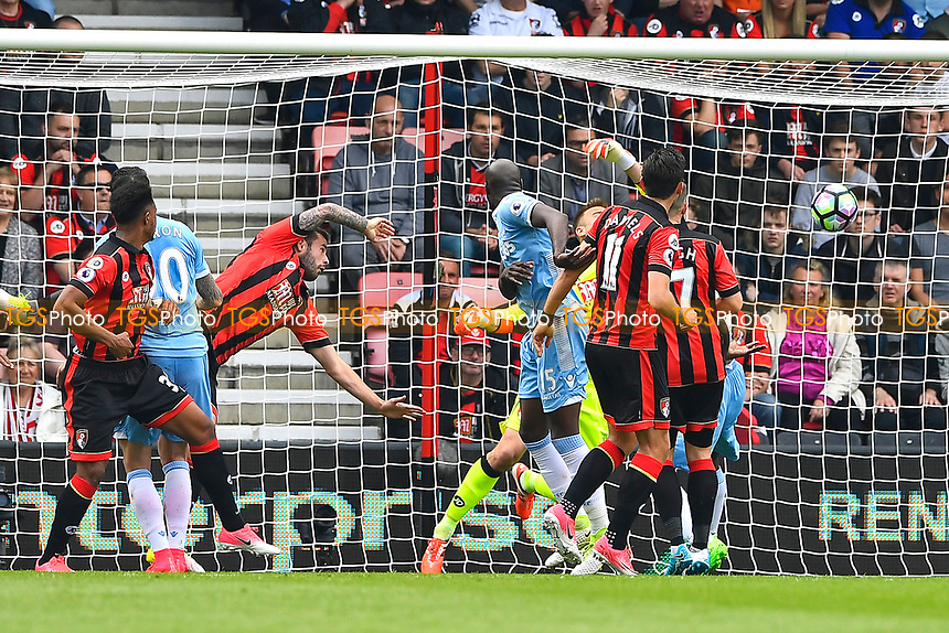 Lys Mousset of AFC Bournemouth left heads into his own net for the first goal during AFC Bournemouth vs Stoke City, Premier League Football at the Vitality Stadium on 6th May 2017