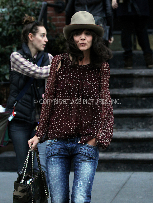 WWW.ACEPIXS.COM<br /> <br /> April 3 2014, New York City<br /> <br /> Actress Katie Holmes arrives on the set of the TV pilot 'Dangerous Liaisons' on April 3 2014 in New York City<br /> <br /> By Line: Zelig Shaul/ACE Pictures<br /> <br /> <br /> ACE Pictures, Inc.<br /> tel: 646 769 0430<br /> Email: info@acepixs.com<br /> www.acepixs.com