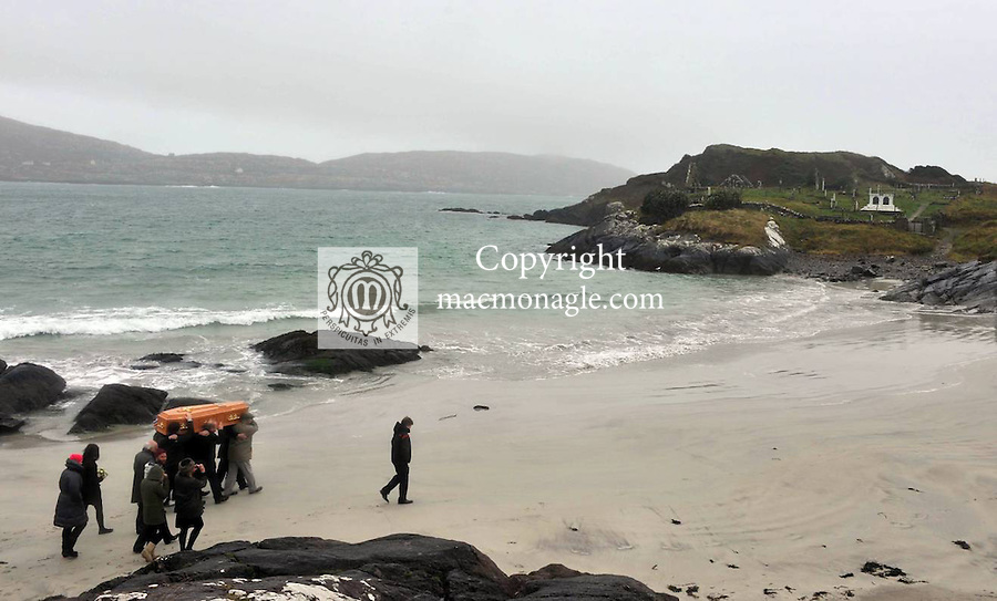17-1-2012: The remains of Una O'Connell, wife of the late Dr Daniel O'Connell, Great Great Grandson of Daniel O'Connell, 'The Liberator' are brought to Abbey Island Cemetary, Derrynane, County Kerry on Tuesday for her final resting place. Her remains are carried accross the Derrynane Strand for internment  in the O'Connell family grave which contains Mary, wife of The Liberator who died in 1836. Her requiem Mass took place in the Liberator's private chapel in Derrynane House earlier in the day. The Liberator is buried in Glasnevin and his heart in Rome..Picture by Don MacMonagle