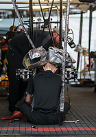 Feb 10, 2019; Pomona, CA, USA; Crew members for NHRA top fuel driver Richie Crampton during the Winternationals at Auto Club Raceway at Pomona. Mandatory Credit: Mark J. Rebilas-USA TODAY Sports