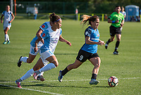 Kansas City, MO - Sunday May 07, 2017: Lo'eau Labonta, Kristen Edmonds during a regular season National Women's Soccer League (NWSL) match between FC Kansas City and the Orlando Pride at Children's Mercy Victory Field.