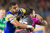 Picture by Allan McKenzie/SWpix.com - 08/02/2018 - Rugby League - Betfred Super League - Leeds Rhinos v Hull KR - Elland Road, Leeds, England - Leeds's Kallum Watkins tackles Hull KR's Justin Carney.
