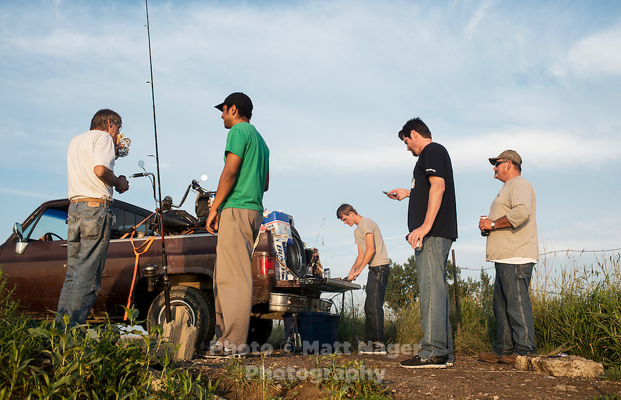 A group of guys who have come to Williston, North Dakota looking for work as part of the sharp rise in shale drilling for oil in the large Bakken Formation, Tuesday, July 17, 2012. ..Photo by MATT NAGER