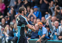 Michael Harriman of Wycombe Wanderers celebrates scoring his first goal during the Sky Bet League 2 match between Wycombe Wanderers and Hartlepool United at Adams Park, High Wycombe, England on 5 September 2015. Photo by Andy Rowland.