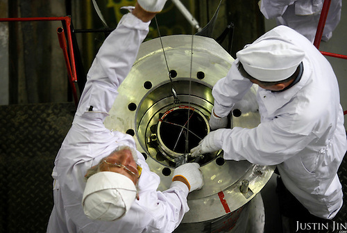 Technicians prepare to load highly enriched uranium fuel assemblies into casks at the Institute of Nuclear Physics in Almaty, Kazakhstan. .The removal of Kazakhstan's highly enriched uranium (HEU) is part of the U.S. Global Threat Reduction Initiative (GTRI), where Igor Bolshinsky and Kelly Cummins work, that tries to secure nuclear material around the world to prevent their misuse by terrorists and rogue states.
