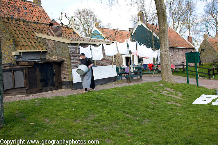 People re-enacting life in Urk village Zuiderzee museum, Enkhuizen, Netherlands
