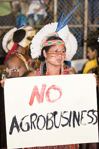 A Pataxo woman holds a banner 'No Agrobusiness', demonstrating against predatory agricultural land grabbing and Brazilian government policies during the International Indigenous Games, in the city of Palmas, Tocantins State, Brazil. Photo © Sue Cunningham, pictures@scphotographic.com 27th October 2015