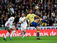 Real Madrid's Jesus Vallejo and UD Las Palmas' Jonathan Calleri during La Liga match. November 5,2017. (ALTERPHOTOS/Inma Garcia)