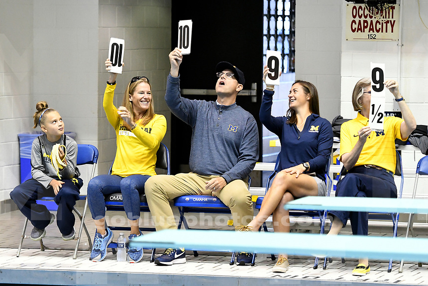 Michigan men's and women's swimming and diving teams participating in the Michigan Water Carnival with Oakland University and Calvin College at Michigan's Canham Natatorium, Saturday, September 30, 2017.