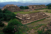 Southwest corner of the Gran Plaza at the pre-Hispanic ruins of Monte Alban near the city of Oaxaca, Mexico