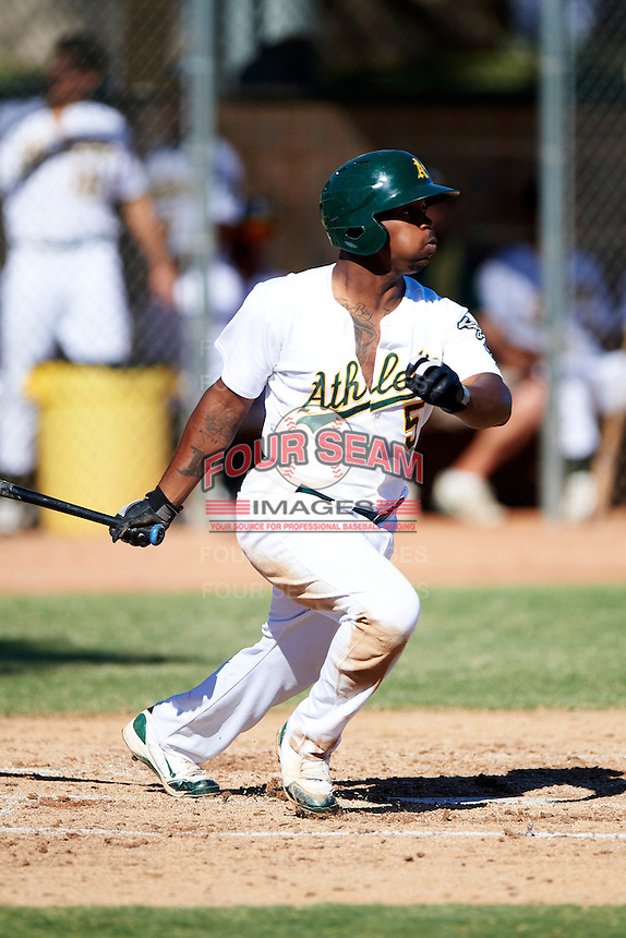 Oakland Athletics minor league outfielder BJ Boyd #5 during an instructional league game against the San Francisco Giants at the Papago Park Baseball Complex on October 17, 2012 in Phoenix, Arizona. (Mike Janes/Four Seam Images)