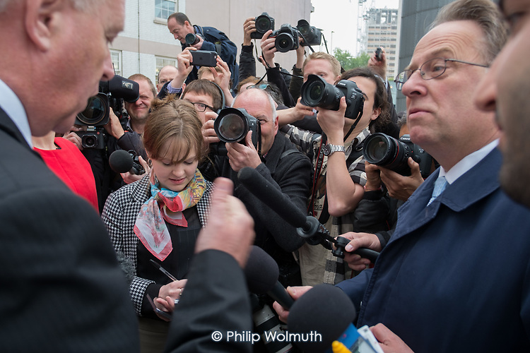 Michael Crisck, other journalists and photographers surround Ian Lavery MP at Labour Party general election campaign poster launch, London.