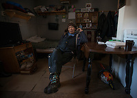 79-year-old Alexie Gusty inside his home in Stony River, Alaska. Photo by James R. Evans