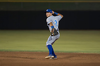 AZL Royals second baseman Kember Nacero (2) prepares to make a throw to first base during an Arizona League game against the AZL Giants Black at Scottsdale Stadium on August 7, 2018 in Scottsdale, Arizona. The AZL Giants Black defeated the AZL Royals by a score of 2-1. (Zachary Lucy/Four Seam Images)