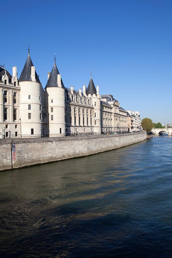 La Conciergerie, a former prison, along the Seine river, Paris, France