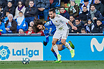 Marc Cucurella of Getafe FC and Dani Carvajal of Real Madrid during La Liga match between Getafe CF and Real Madrid at Coliseum Alfonso Perez in Getafe, Spain. January 04, 2020. (ALTERPHOTOS/A. Perez Meca)