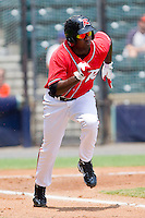 Wendell Fairley #16 of the Richmond Flying Squirrels hustles down the first base line against the Harrisburg Senators at The Diamond on July 22, 2011 in Richmond, Virginia.  The Squirrels defeated the Senators 5-1.   (Brian Westerholt / Four Seam Images)