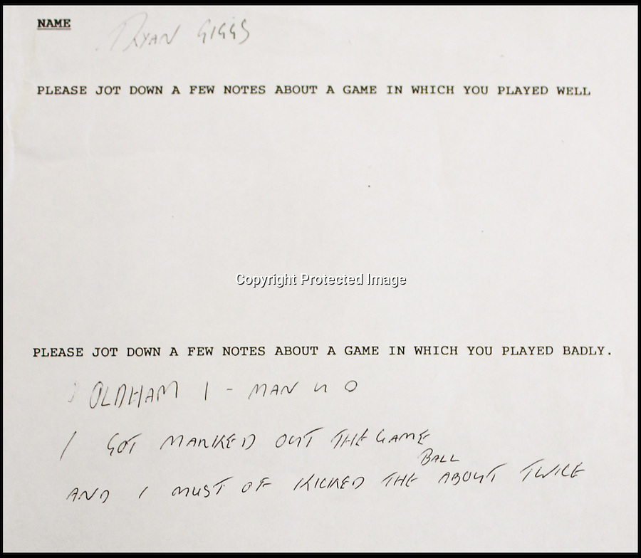 BNPS.co.uk (01202 558833)<br /> Pic: BNPS.co.uk<br /> <br /> Handwritten notes by young football star Ryan Giggs shows how he was trained to analyse his playing. <br /> <br /> The boy done good... An extraordinary video showing a rough-and-ready David Beckham practicing speaking to the media before he became famous has emerged for sale £3,000. The soccer legend was caught on camera as a 17-year-old during a role-play interview about a football match he played in for the Manchester United youth team. The fresh-faced future England captain spoke in a common London accent and used words like 'nuffink' and 'yoof' during the clip. As well as the practice TV interviews, he also had to write down his best and worst game up until that point.