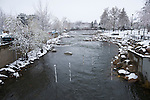 Snow covered slalom kayaking course at the Downtown Reno whitewater park in Wingfield Park, Reno, Nevada.