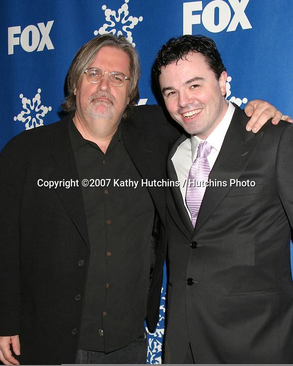 Matt Groening & Seth MacFarlane.Fox Television Critics Association Press Tour Party.Pasadena   CA.January 20, 2007.©2007 Kathy Hutchins / Hutchins Photo.