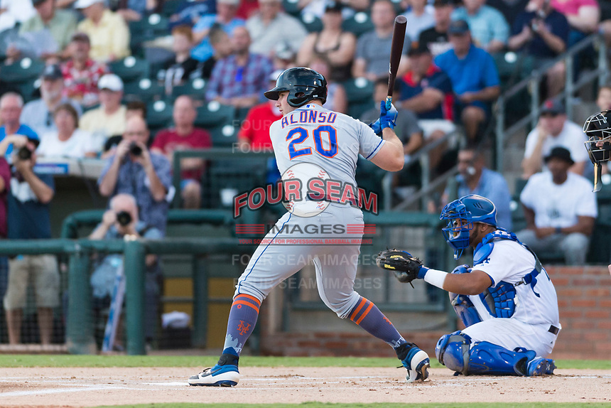 AFL East first baseman Peter Alonso (20), of the Scottsdale Scorpions and the New York Mets organization, at bat in front of catcher Keibert Ruiz (17) during the Fall Stars game at Surprise Stadium on November 3, 2018 in Surprise, Arizona. The AFL West defeated the AFL East 7-6 . (Zachary Lucy/Four Seam Images)