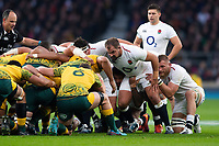 Ben Moon of England prepares to scrummage against his opposite number. Quilter International match between England and Australia on November 24, 2018 at Twickenham Stadium in London, England. Photo by: Patrick Khachfe / Onside Images