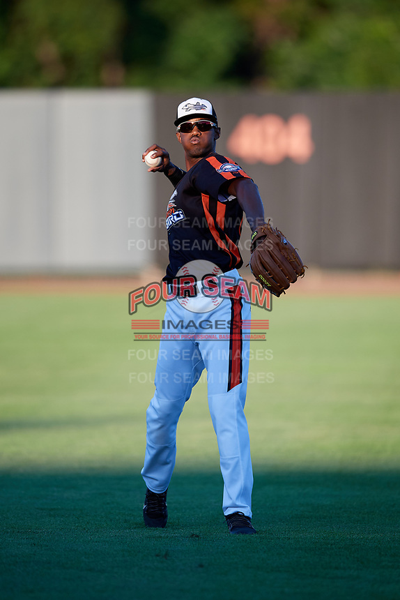 Aberdeen IronBirds Jaylen Ferguson (31) warms up before a game against the Staten Island Yankees on August 23, 2018 at Leidos Field at Ripken Stadium in Aberdeen, Maryland.  Aberdeen defeated Staten Island 6-2.  (Mike Janes/Four Seam Images)