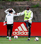 Paul Pogba of Manchester United warms up during the Manchester United open training session at the Carrington Training Centre, Manchester. Picture date: May 19th 2017. <br /> Pic credit should read: Matt McNulty/Sportimage