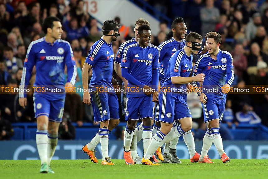 Chelsea players congratulate Eden Hazard after scoring their 4th goal during Chelsea vs Manchester City, Emirates FA Cup Football at Stamford Bridge