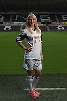 Pictured: Personal trainer Tara Hammett<br /> Re: Official launch of the 2013-2014 Swansea City Football Club kit launch, with sponsors Goldenway GWFX at the Liberty Stadium, Swansea, south Wales. Friday 28th of June 2013