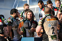 20130317 Copyright onEdition 2013©.Free for editorial use image, please credit: onEdition..Luke Wallace of Harlequins enjoys the moment after winning the LV= Cup Final between Harlequins and Sale Sharks at Sixways Stadium on Sunday 17th March 2013 (Photo by Rob Munro)..For press contacts contact: Sam Feasey at brandRapport on M: +44 (0)7717 757114 E: SFeasey@brand-rapport.com..If you require a higher resolution image or you have any other onEdition photographic enquiries, please contact onEdition on 0845 900 2 900 or email info@onEdition.com.This image is copyright onEdition 2013©..This image has been supplied by onEdition and must be credited onEdition. The author is asserting his full Moral rights in relation to the publication of this image. Rights for onward transmission of any image or file is not granted or implied. Changing or deleting Copyright information is illegal as specified in the Copyright, Design and Patents Act 1988. If you are in any way unsure of your right to publish this image please contact onEdition on 0845 900 2 900 or email info@onEdition.com