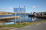 Sign for Unst and Fetlar ferry, Gutcher, Yell, Shetland Islands, Scotland