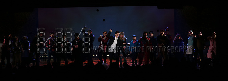 Barrett Doss and Andy Karl and cast during the Broadway Opening Night Curtain Call Bows for 'Groundhog Day' at August Wilson Theatre on April 17, 2017 in New York City.