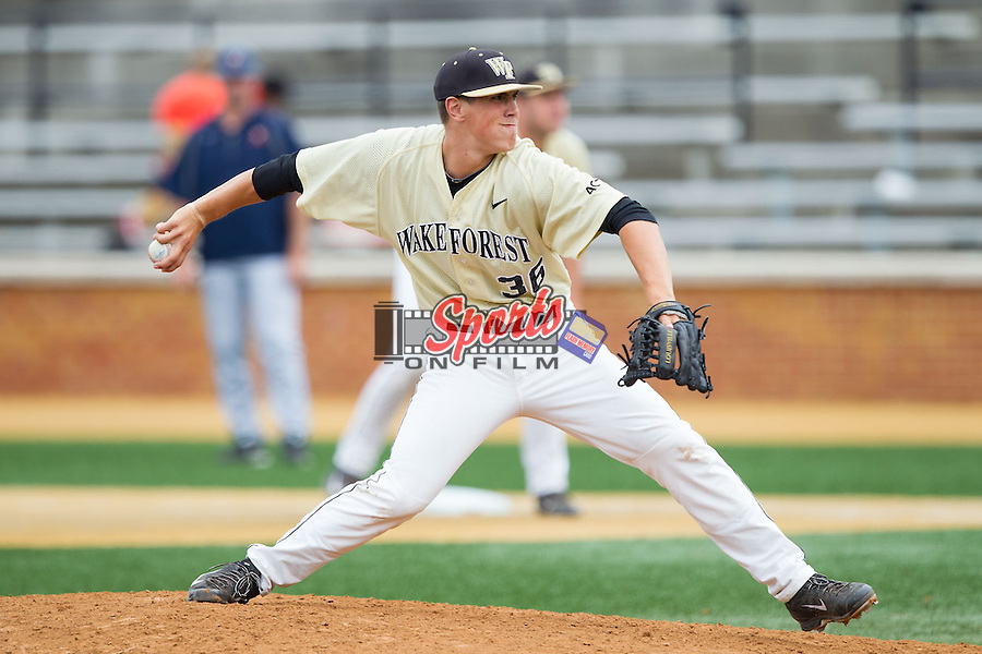 Wake Forest Demon Deacons relief pitcher Parker Dunshee (36) in action against the Virginia Cavaliers at Wake Forest Baseball Park on May 17, 2014 in Winston-Salem, North Carolina.  The Demon Deacons defeated the Cavaliers 4-3.  (Brian Westerholt/Sports On Film)